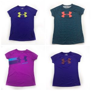 Lot of 4 Girls Under Armour T shirts